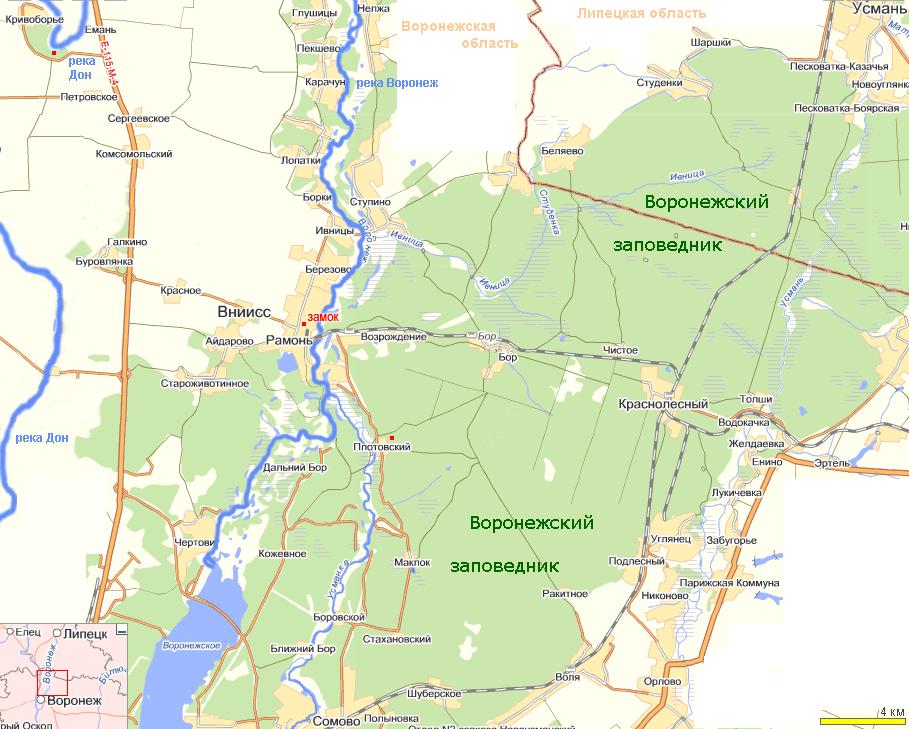 План-карта Рамонь, Кривоборье,